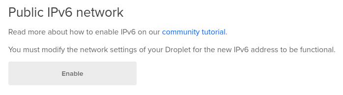 DigitalOcean enable IPv6 button