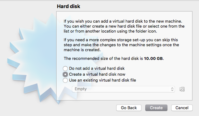 Create Hard Disk Window