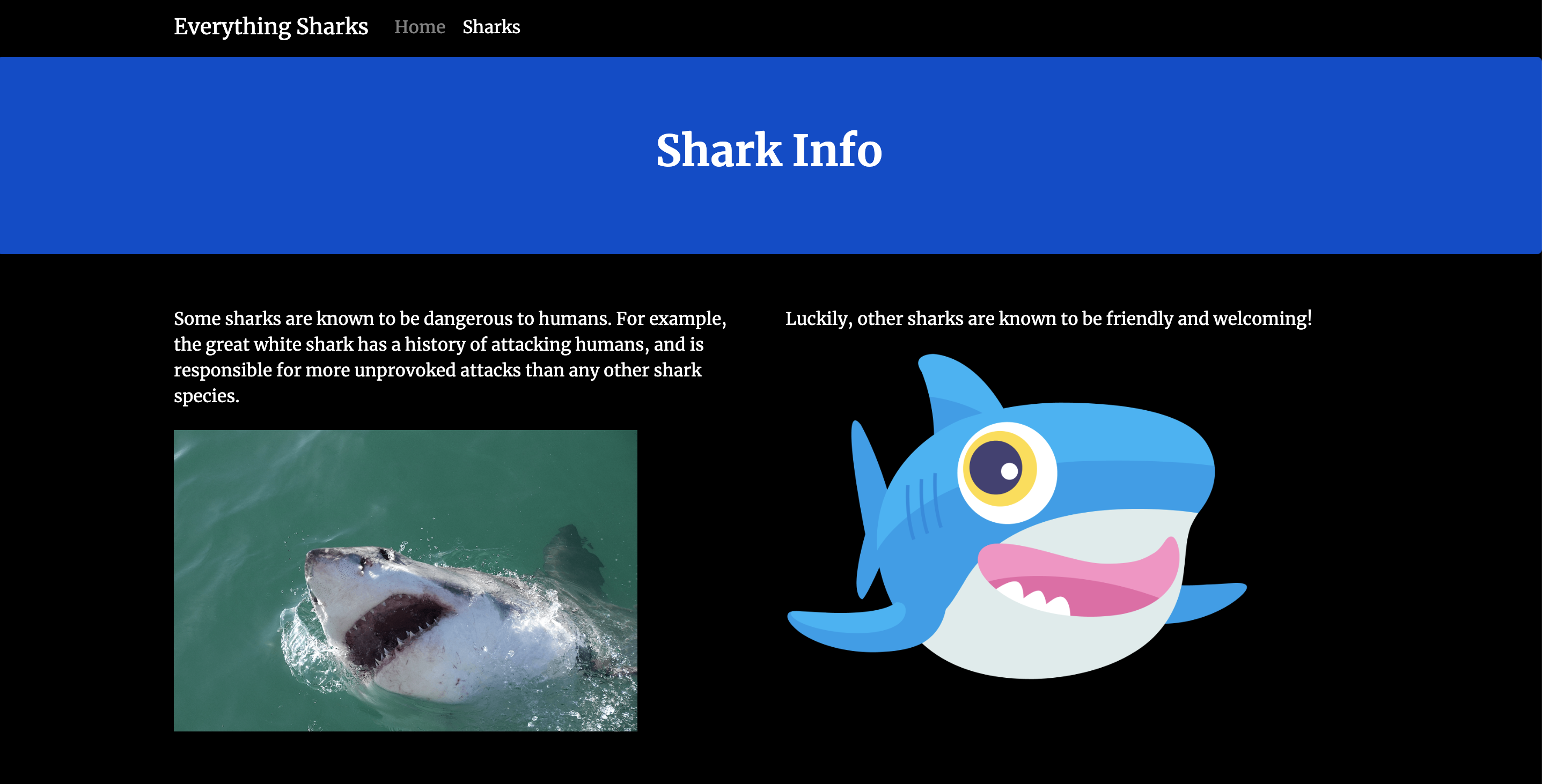 Scary Shark Info Page