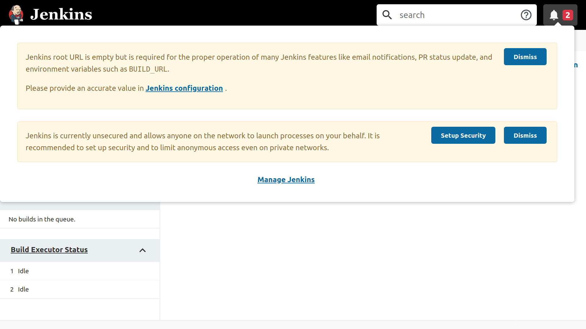 The Jenkins dashboard showing issues