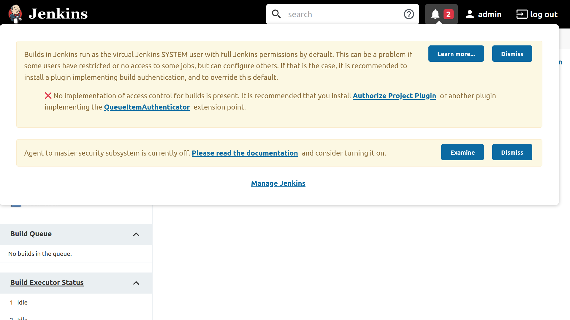 Jenkins Dashboard showing the notifications menu with two issues