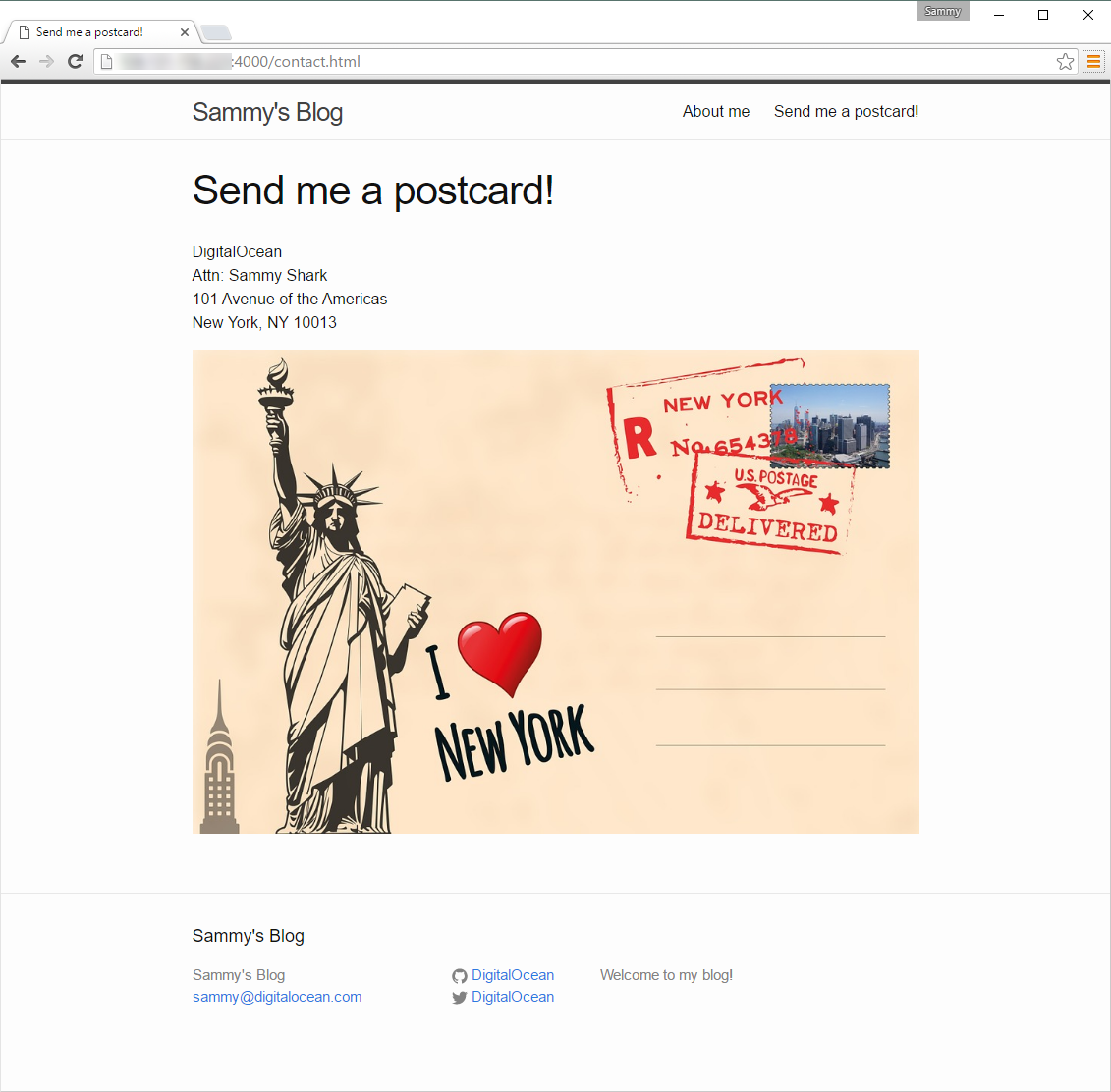 Screenshot of the new Contact page