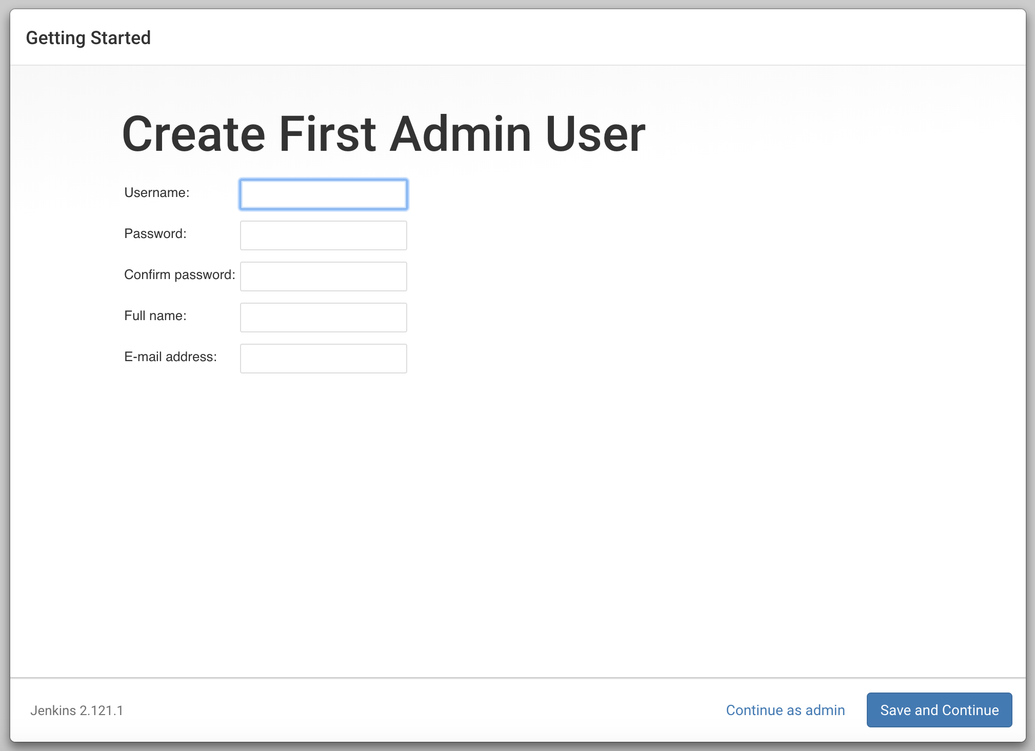 Jenkins Create First Admin User Screen