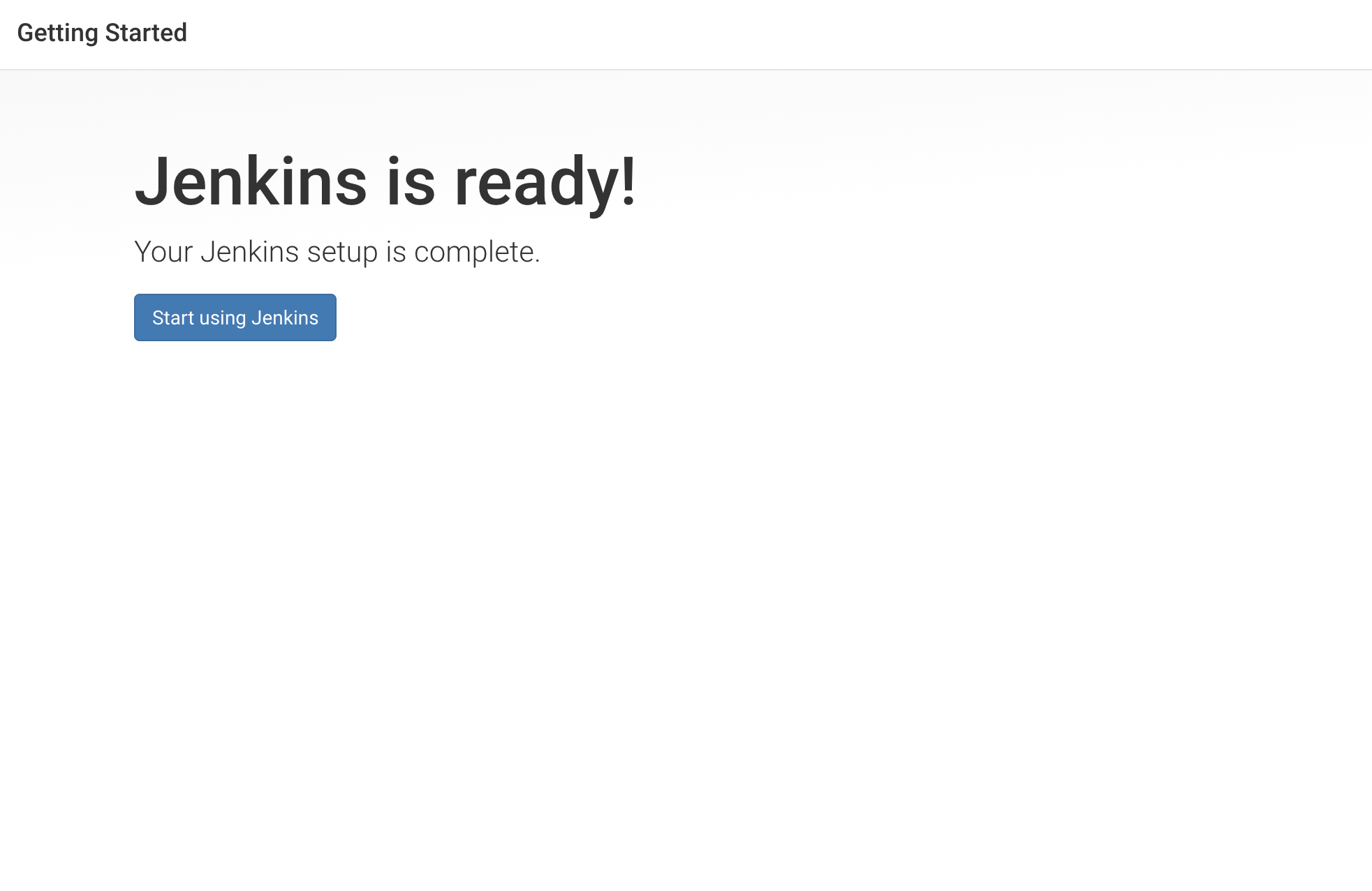 Jenkins is ready screen