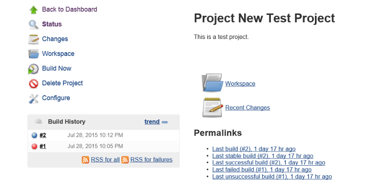 Jenkins project page with project build statuses