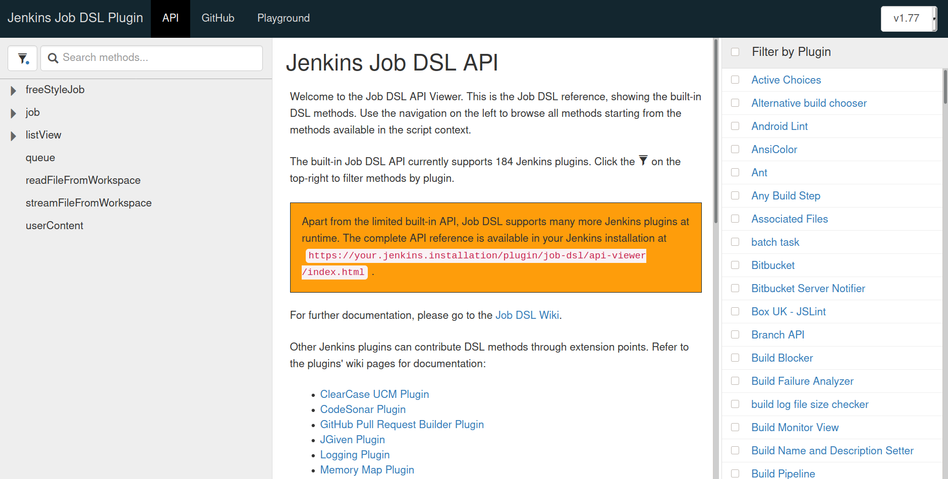Jenkins Job DSL API reference web page showing only the core APIs