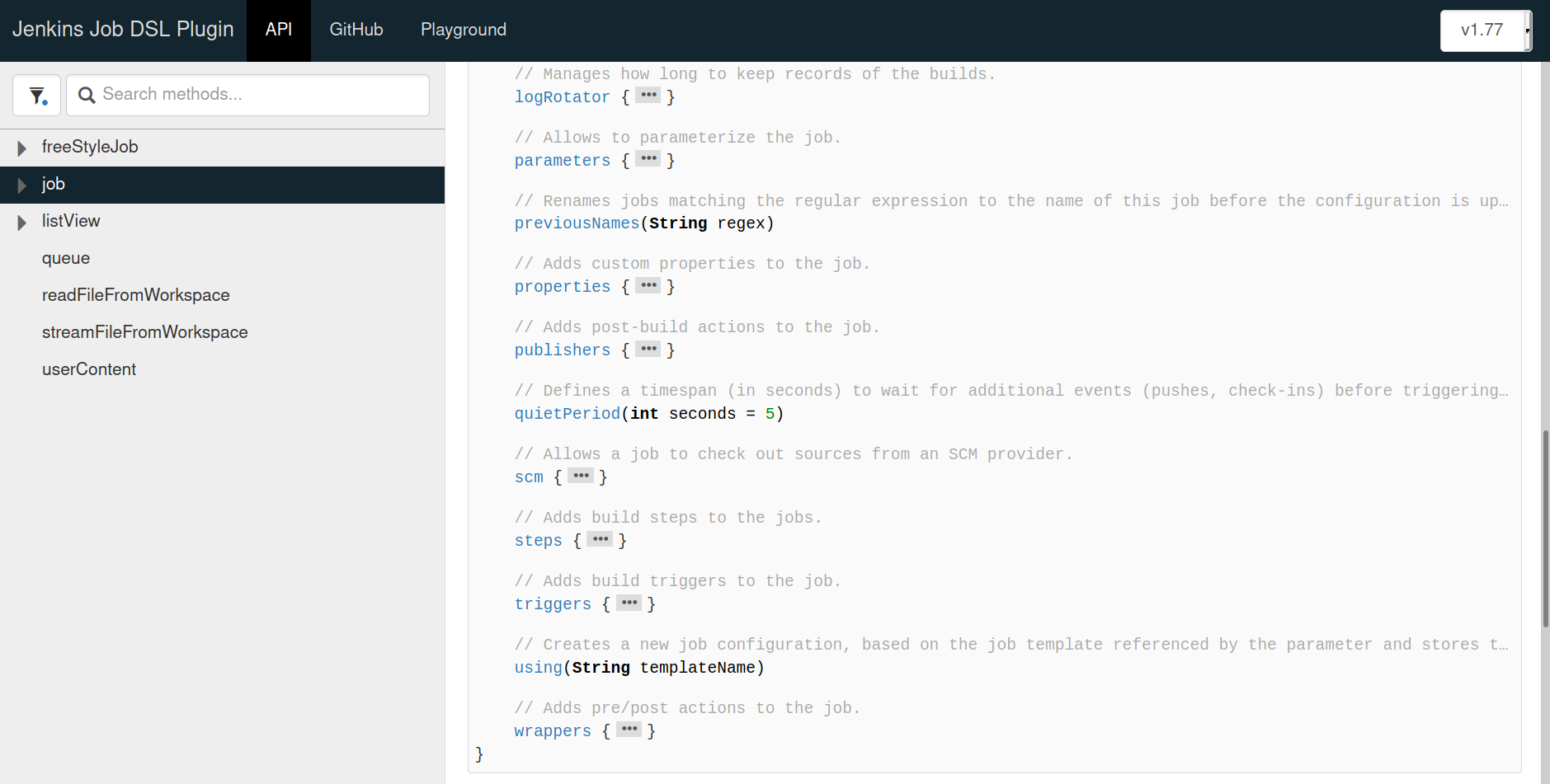 Expanded view of the job API method reference