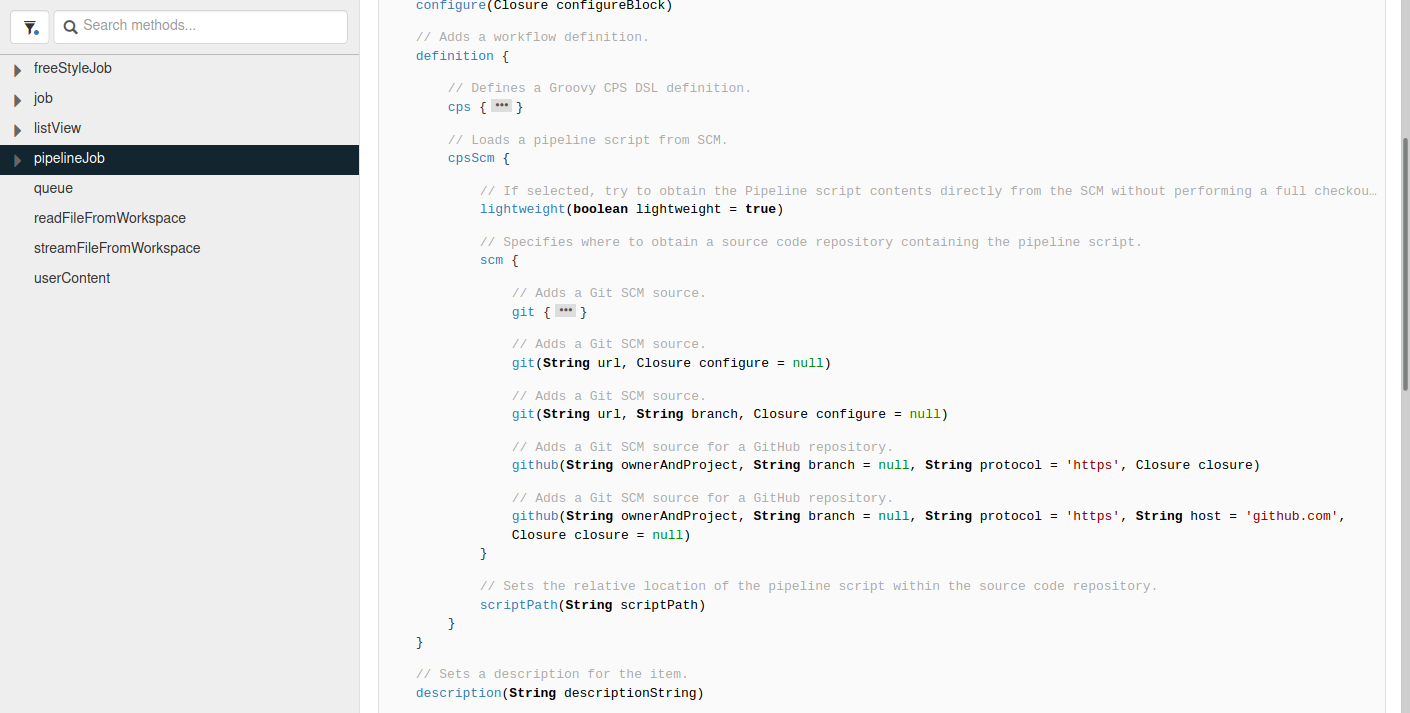 Expanded view of the pipelineJob API method block