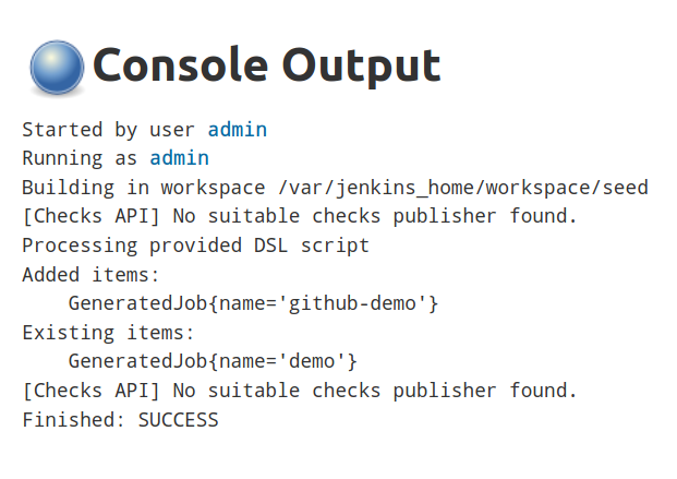 Console output for the modified seed job, showing that the github-demo job has been added
