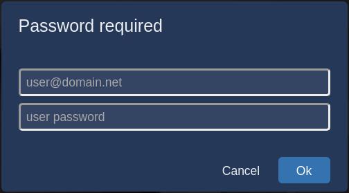 Bild mit dem Jitsi-Dialogfeld für Benutzername und Passwort