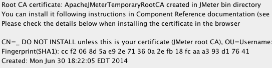 Temporary Certificate Created