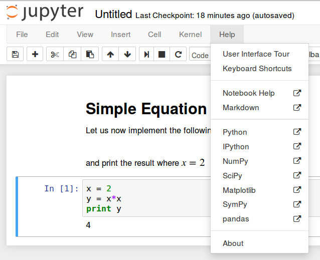 Finding Jupyter Notebook help tour
