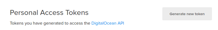 DigitalOcean generate API token
