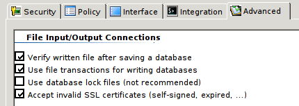 KeePass2 accept self-signed certs