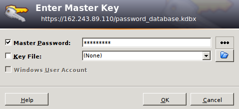 KeePass2 master password