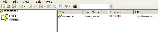 KeePass2 database opened