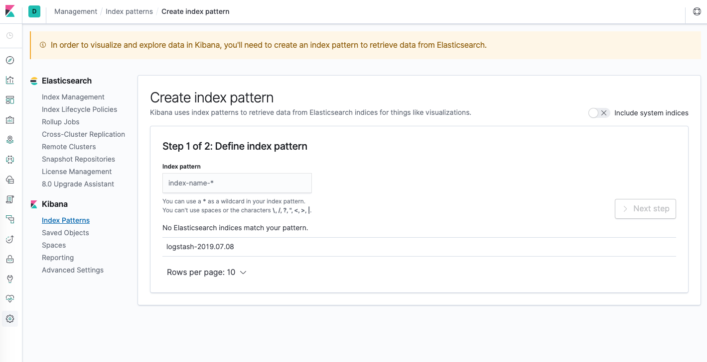 Kibana Index Pattern Configuration