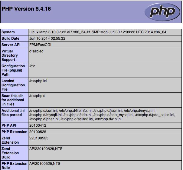 CentOS 7 기본 PHP 정보