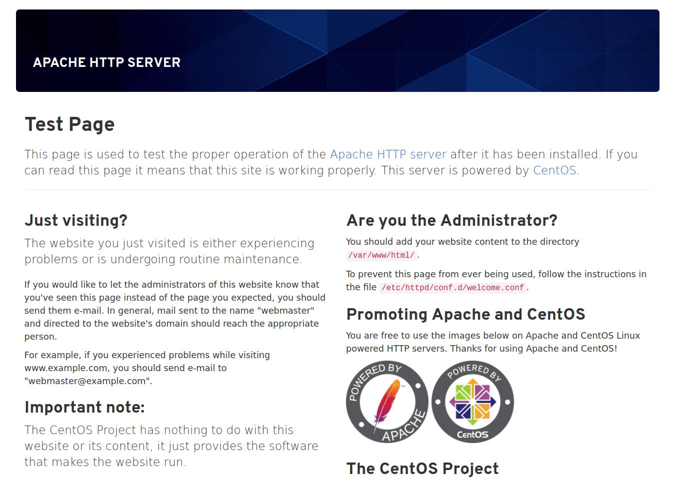 Página padrão do Apache do CentOS 8