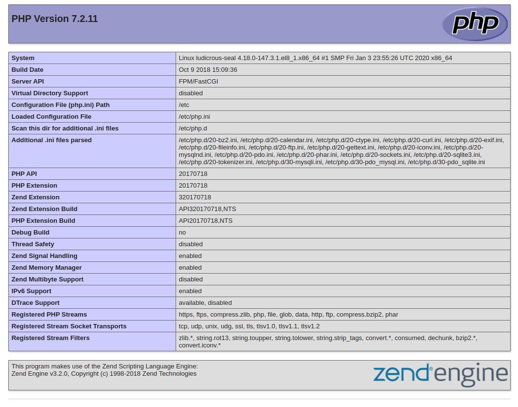 Informações do PHP padrão do CentOS 8 do Apache