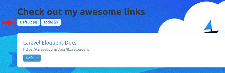 Updated application showing number of links in each link on the top menu