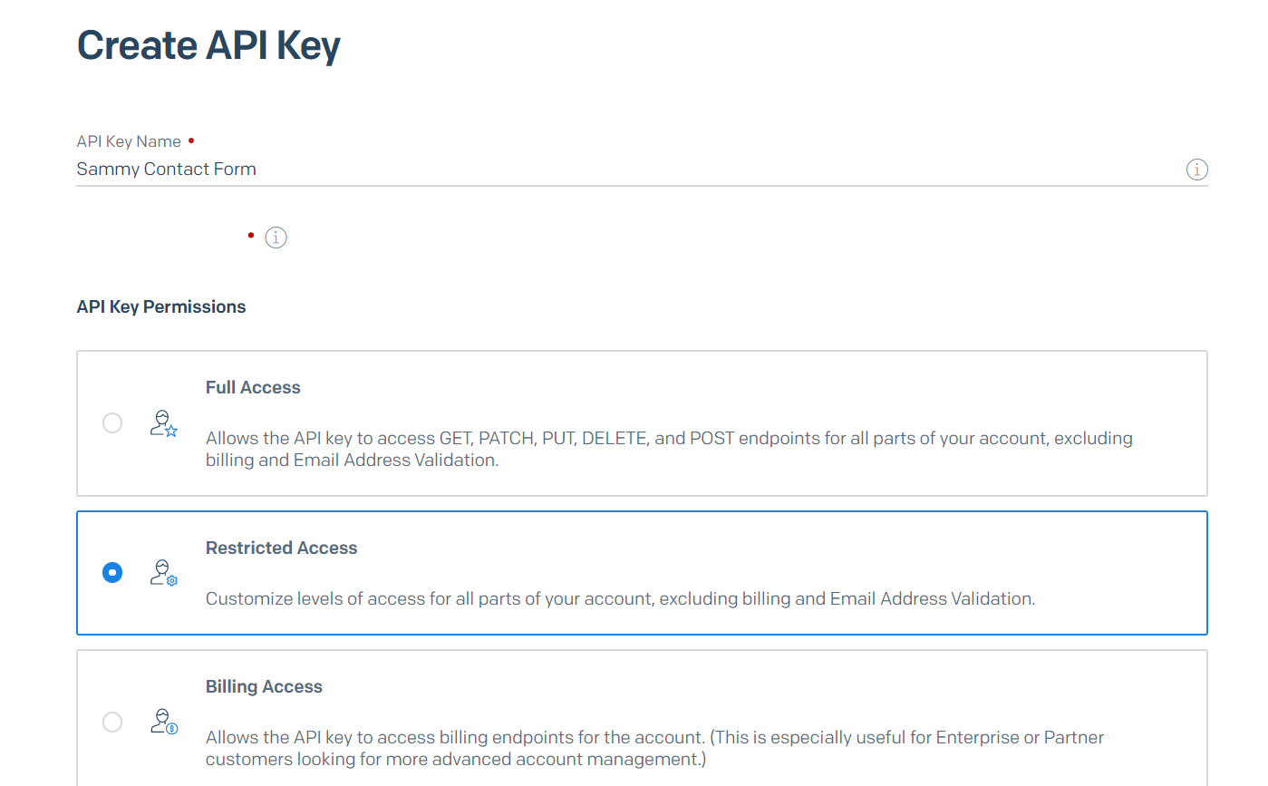 SendGrid Create API Key