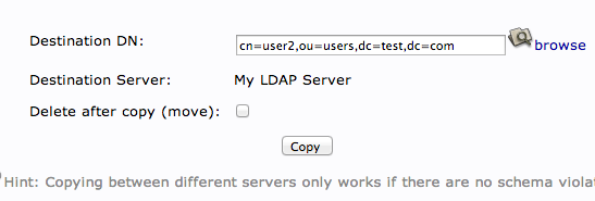 LDAP copy common name