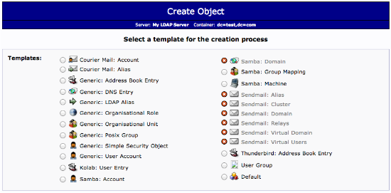 LDAP object selection