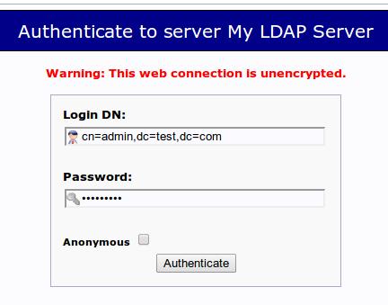 phpLDAPadmin login page