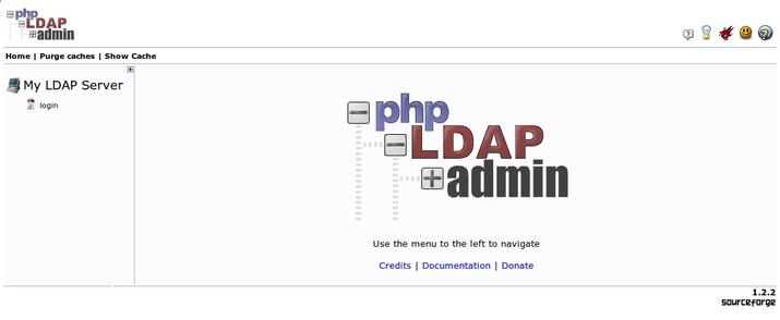 phpLDAPadmin landing page