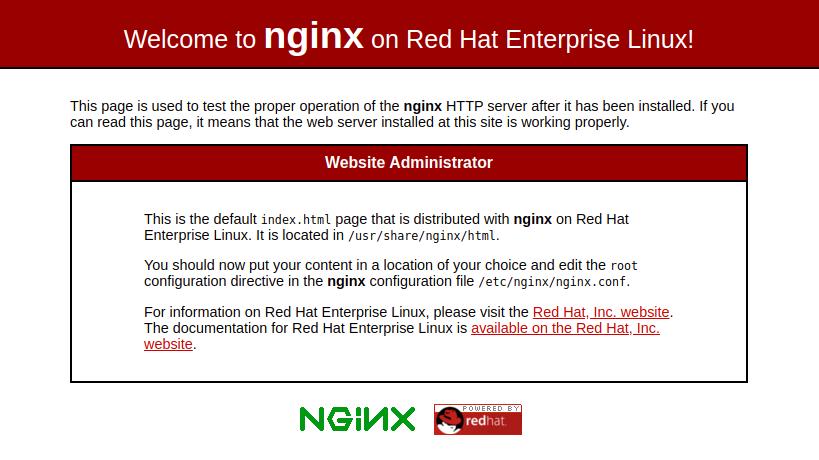 Página predeterminada de Nginx, CentOS 8