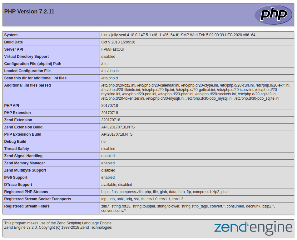 CentOS 8 Standard PHP info