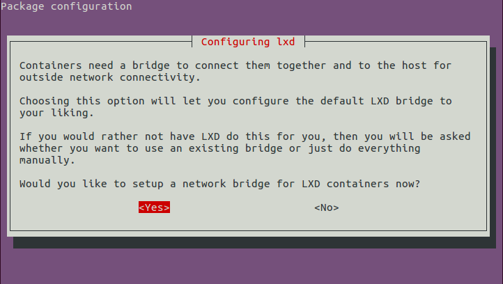 LXD networking configuration, start of configuration wizard