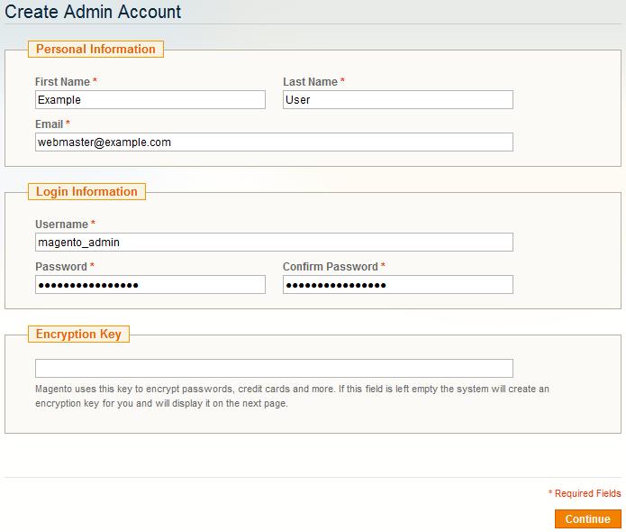 Magento Admin Account