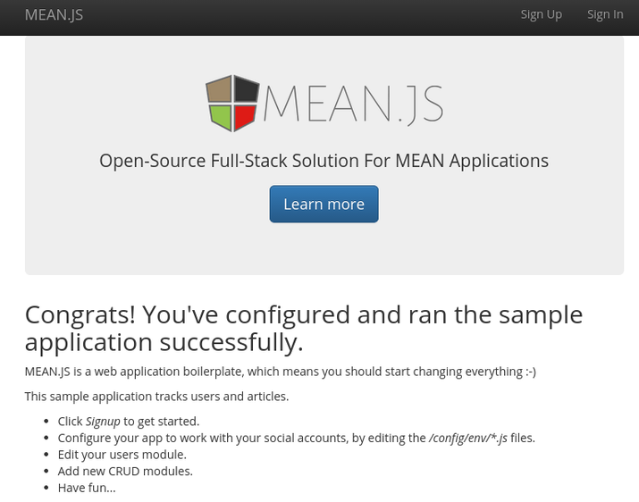 MEAN.JS sample application