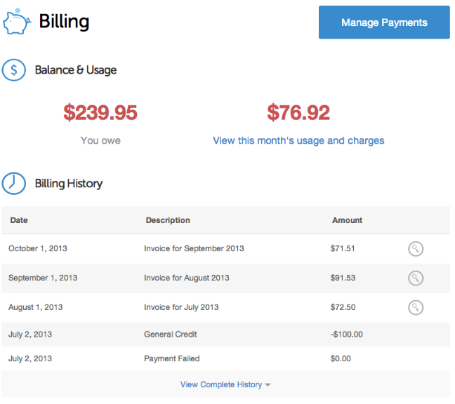 DigitalOcean billing landing page