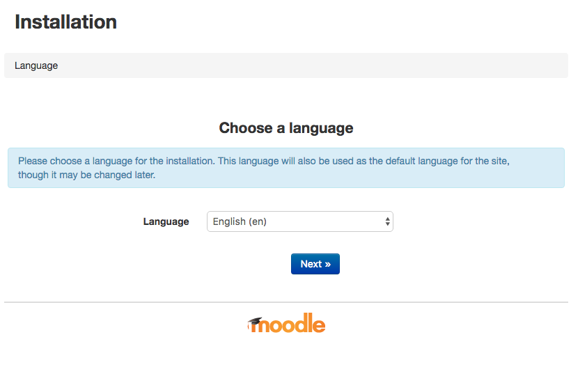 Initial Moodle Setup Screen