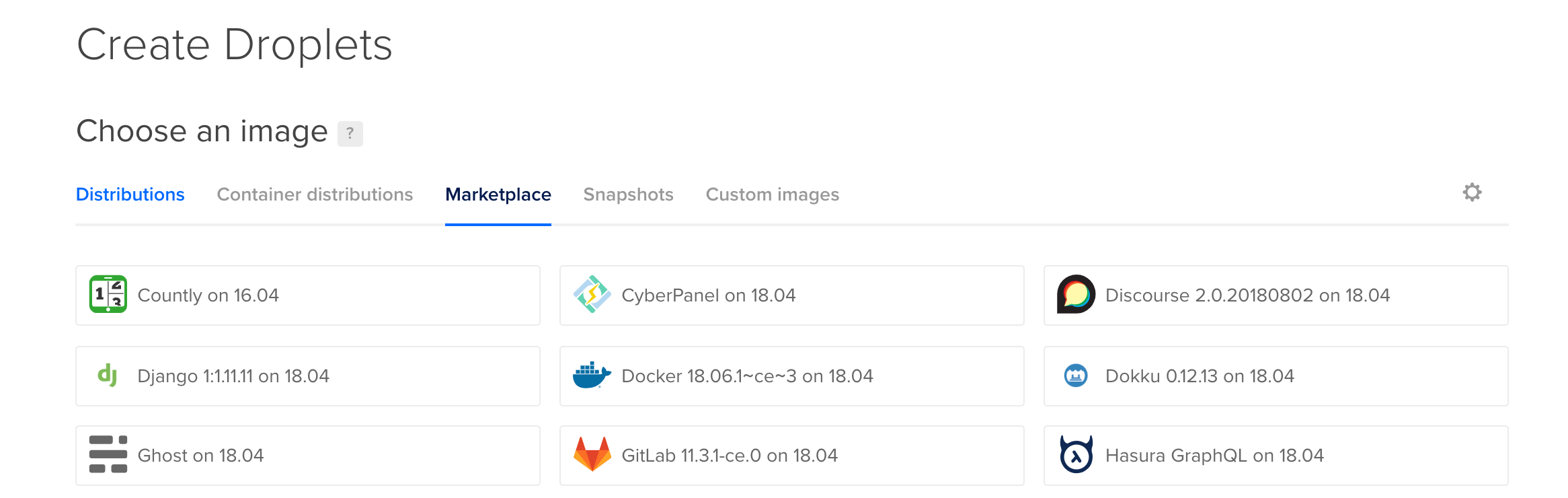 Choose the Docker 18.06 image from the One-click Apps menu