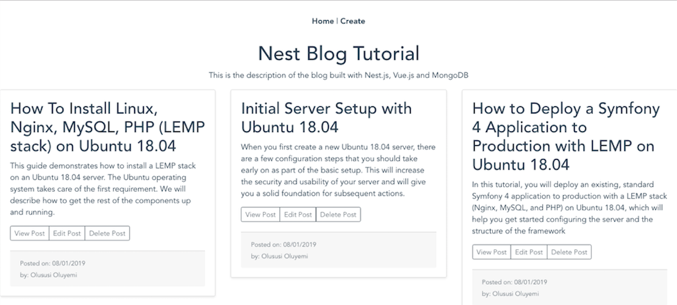 How To Build a Blog with Nest js, MongoDB, and Vue js | DigitalOcean