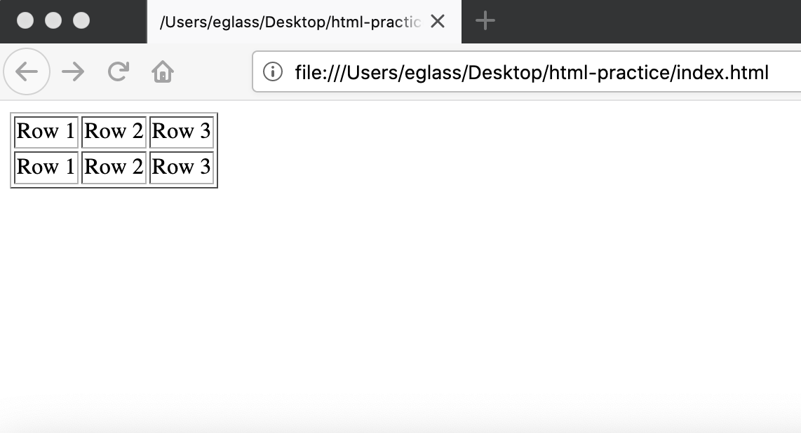 Webpage displaying table with border
