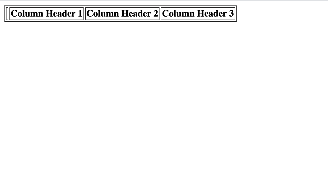Webpage displaying HTML column headings
