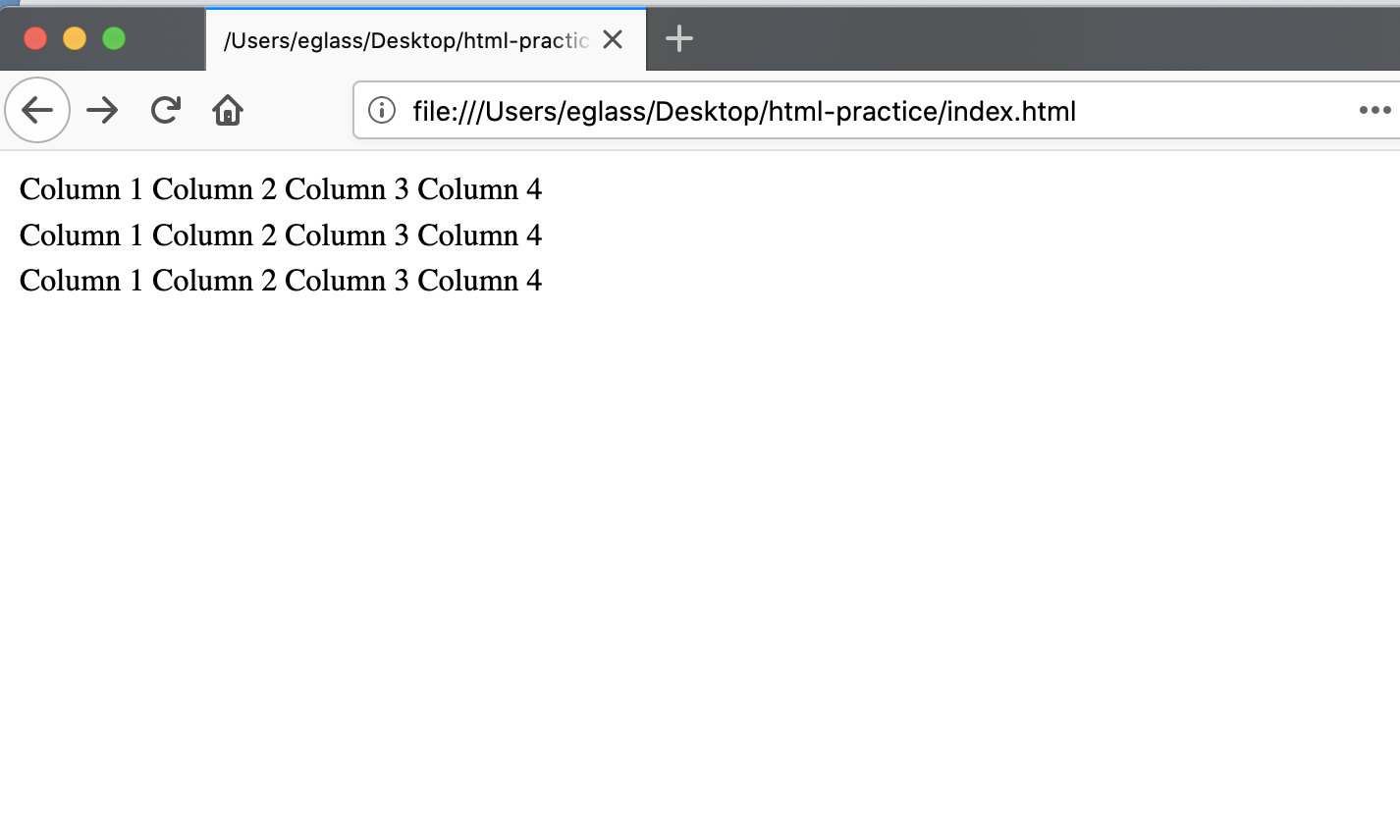 Webpage displaying table with three rows and four columns