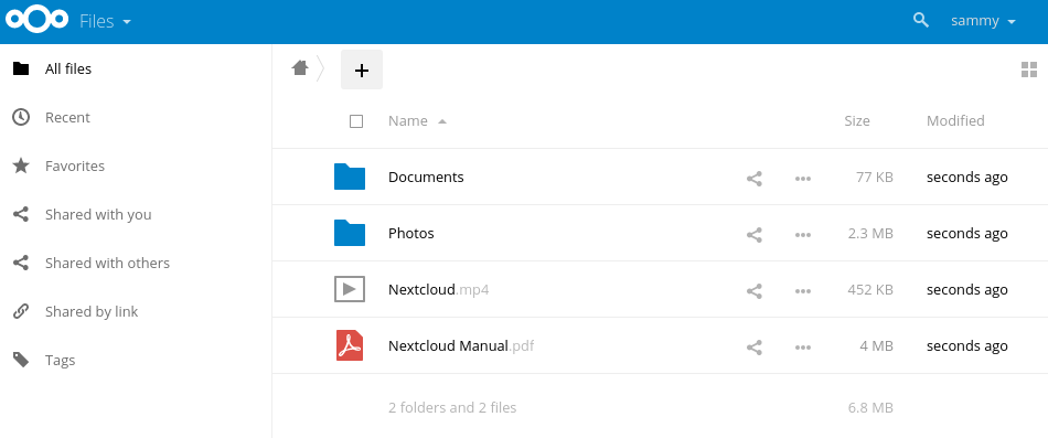 Nextcloud main page