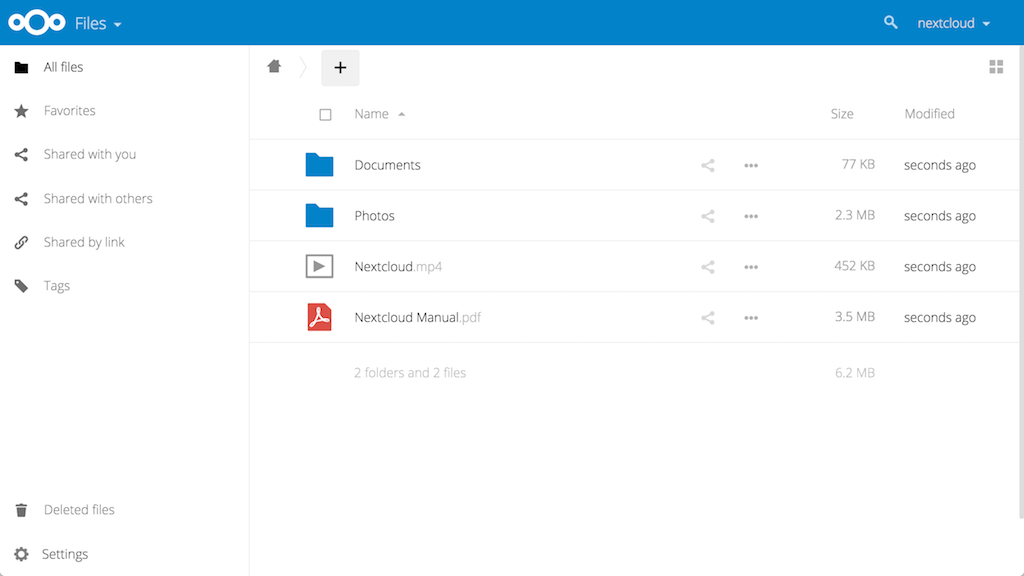 Nextcloud Main Interface
