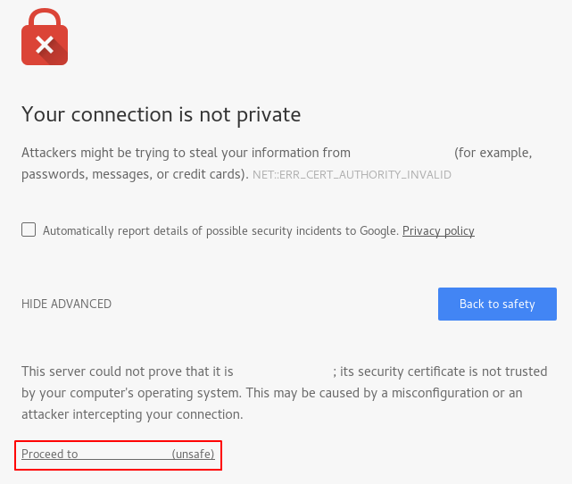 Nginx self-signed cert warning