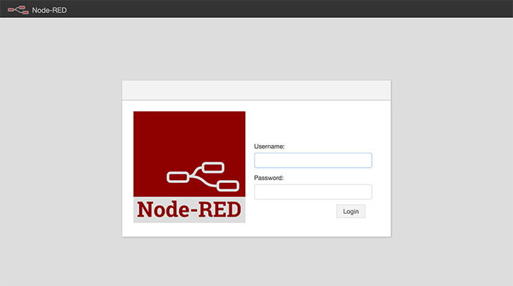 Node-RED's login screen
