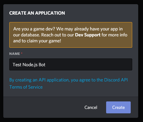 "Image of the prompt to create an application, with ""Test Node.js Bot"" entered as the name of the application"