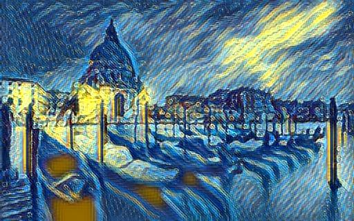 Starry night's style transferred to the content of our image of Venitian boats