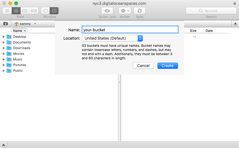 Transmit new bucket creation dialog