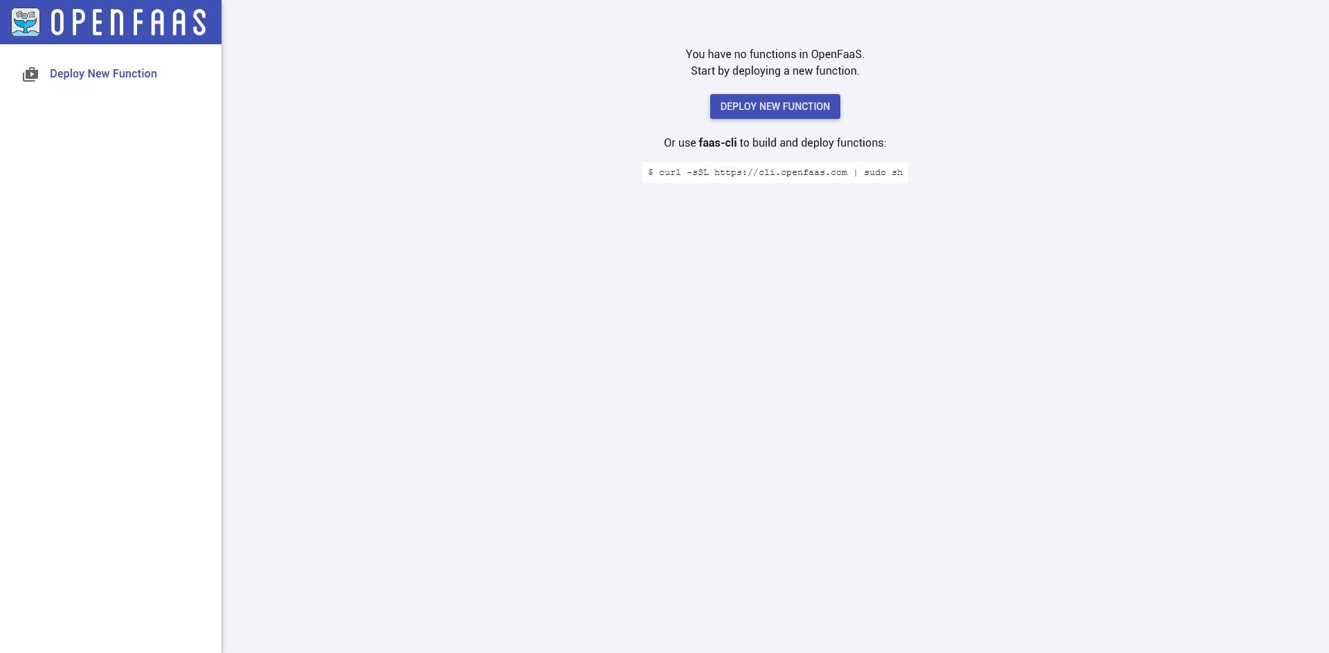 OpenFaaS - Painel de controle vazio